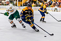 26 January 2019: Merrimack College Warrior Defenseman Tyler Heidt, a Freshman from Saskatoon, Saskatchewan, in second period action against the University of Vermont Catamounts at Gutterson Fieldhouse in Burlington, Vermont. The Warriors fell to the Catamounts 4-3 in overtime after tying up the game in the dyeing seconds of the third period of their America East conference game. Mandatory Credit: Ed Wolfstein Photo *** RAW (NEF) Image File Available ***