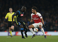 Arsenal's Pierre-Emerick Aubameyang and Napoli's Kalidou Koulibaly<br /> <br /> Photographer Rob Newell/CameraSport<br /> <br /> UEFA Europa League First Leg - Arsenal v Napoli - Thursday 11th April 2019 - The Emirates - London<br />  <br /> World Copyright © 2018 CameraSport. All rights reserved. 43 Linden Ave. Countesthorpe. Leicester. England. LE8 5PG - Tel: +44 (0) 116 277 4147 - admin@camerasport.com - www.camerasport.com