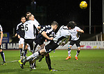 Dundee v St Johnstone…12.02.16   SPFL   Dens Park, Dundee<br />Joe Shaughnessy is pulled down in the box by Darren O'Dea<br />Picture by Graeme Hart.<br />Copyright Perthshire Picture Agency<br />Tel: 01738 623350  Mobile: 07990 594431