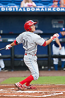 Troy Hanzawa (21) of the Clearwater Threshers during a game vs. the St. Lucie Mets May 30 2010 at Digital Domain Park, Port St. Lucie Florida. St. Lucie won the game against Clearwater by the score of 3-2. Photo By Scott Jontes/Four Seam Images