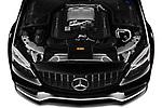 Car Stock 2019 Mercedes Benz C-CLass 63-AMG 4 Door Sedan Engine  high angle detail view