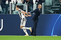29th September 2021; Turin, Italy;   Federico Chiesa of Juventus FC celebrates after scoring with manager Massimiliano Allegri during the UEFA Champions League;  group H match between Juventus and Chelsea at the Juventus Stadium, Turin, Italy