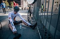 Jakob Gessner (DEU)<br /> <br /> post-race battlefield in the finish zone<br /> <br /> MEN JUNIOR INDIVIDUAL TIME TRIAL<br /> Hall-Wattens to Innsbruck: 27.8 km<br /> <br /> UCI 2018 Road World Championships<br /> Innsbruck - Tirol / Austria