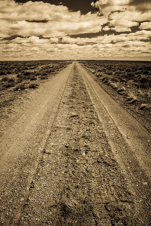 A dirt road in Wyoming traces the path of the Oregon Trail.