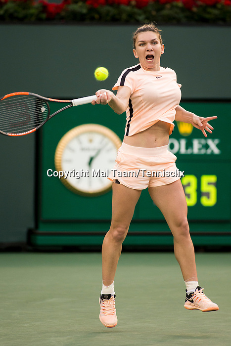 March 11, 2018: Simona Halep (ROU) defeated Caroline Dolehide (USA) 1-6, 7-6 (3), 6-2 at the BNP Paribas Open played at the Indian Wells Tennis Garden in Indian Wells, California. ©Mal Taam/TennisClix/CSM