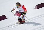 Sochi, RUSSIA - Mar 16 2014 - Chris Klebl competes in Cross Country Skiing Men's 10km Sitting at the 2014 Paralympic Winter Games in Sochi, Russia.  (Photo: Matthew Murnaghan/Canadian Paralympic Committee)