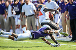 Oklahoma State Cowboys wide receiver Tyreek Hill (24) and TCU Horned Frogs cornerback Ranthony Texada (11) in action during the game between the OSU Cowboys and the TCU Horned Frogs at the Amon G. Carter Stadium in Fort Worth, Texas. TCU defeated OSU 42 to 9.