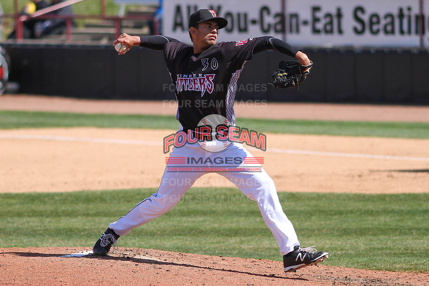 Wisconsin Timber Rattlers pitcher Victor Diaz (30) delivers a pitch during a game against the Peoria Chiefs on April 25th, 2015 at Fox Cities Stadium in Appleton, Wisconsin.  Wisconsin defeated Peoria 2-0.  (Brad Krause/Four Seam Images)