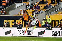 23rd May 2021; Molineux Stadium, Wolverhampton, West Midlands, England; English Premier League Football, Wolverhampton Wanderers versus Manchester United; Fábio Silva of Wolverhampton Wanderers climbs high to get a header in the box