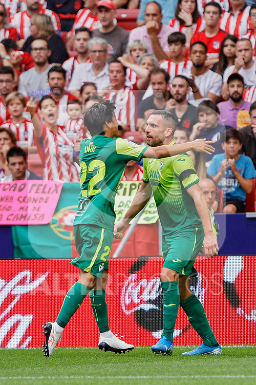 Takashi Inui (L) and Charles Dias de Oliveira (R) of SD Eibar celebrate goal during La Liga match between Atletico de Madrid and SD Eibar at Wanda Metropolitano Stadium in Madrid, Spain.September 01, 2019. (ALTERPHOTOS/A. Perez Meca)