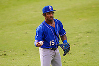 Biloxi Shuckers outfielder Troy Stokes Jr. (15) warms up in the outfield prior to a Southern League game against the Jackson Generals on July 26, 2018 at The Ballpark at Jackson in Jackson, Tennessee. Jackson defeated Biloxi 9-5. (Brad Krause/Four Seam Images)