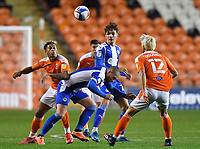 Blackpool's Jordan Lawrence-Gabriel battles for the ball<br /> <br /> Photographer Dave Howarth/CameraSport<br /> <br /> The EFL Sky Bet League One - Blackpool v Wigan Athletic - Tuesday 3rd November 2020 - Bloomfield Road - Blackpool<br /> <br /> World Copyright © 2020 CameraSport. All rights reserved. 43 Linden Ave. Countesthorpe. Leicester. England. LE8 5PG - Tel: +44 (0) 116 277 4147 - admin@camerasport.com - www.camerasport.com
