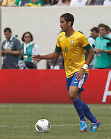 Brazil midfielder Romulo (8) looks to pass. In an international friendly (Clash of Titans), Argentina defeated Brazil, 4-3, at MetLife Stadium on June 9, 2012.