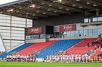 21st August 2020; AJ Bell Stadium, Salford, Lancashire, England; English Premiership Rugby, Sale Sharks versus Exeter Chiefs; The teams line up in front of an empty stadium