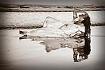 Trash the Dress - Reflection on Beach, Wedding Dress, Seal Beach California, Published Photograph, Mariposa County Fair - Award Winning Images<br /> Fine Art Landscape  <br /> Photo by Joelle Leder Photography Studio ©