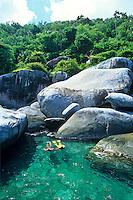 Snorkelers near the boulders at<br /> Mary's Point<br /> Virgin Islands National Park<br /> St. John, U.S. Virgin Islands