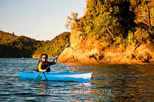 Kayaker in Ngakuta Bay in Marlborough Sounds - Marlborough, New Zealand