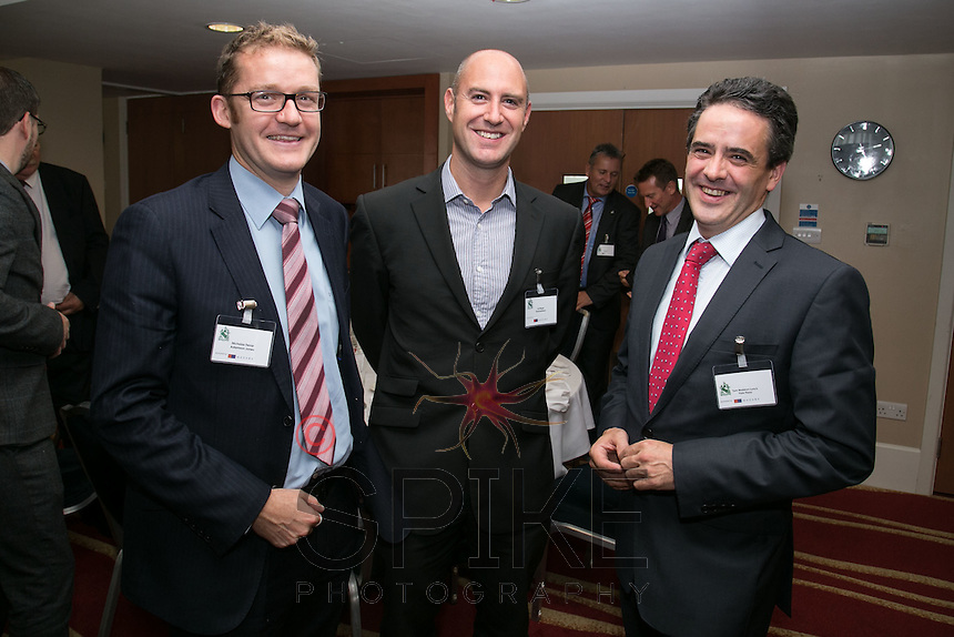 Left to right are Nicholas Ferrar of Adamson Jones, Ed Wright of Shakespeares and Tom Waldron-Lynch, General Manager of the Park Plaza