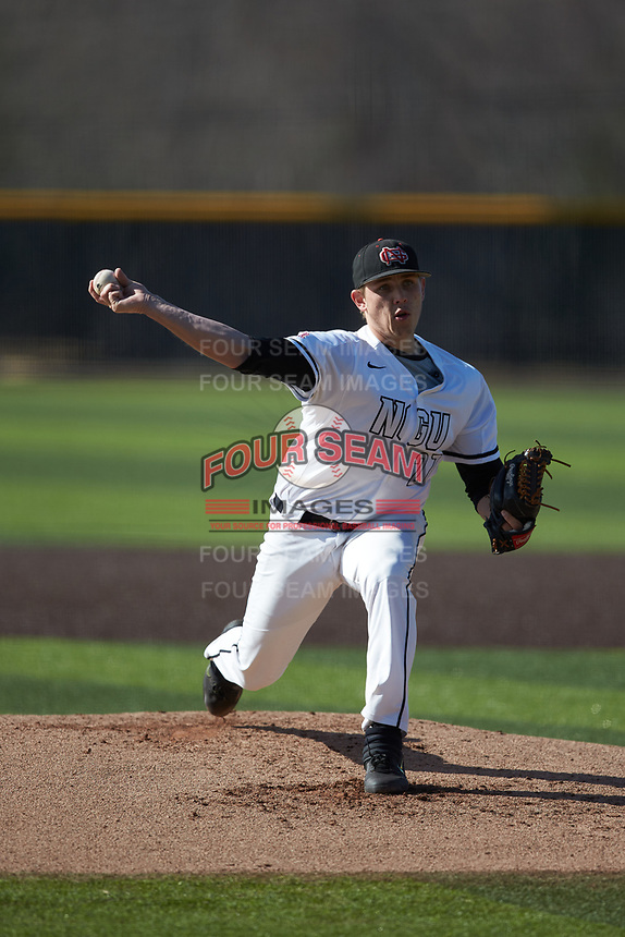 North Greenville Crusaders starting pitcher Ethan Garner (27) in action against the Bellarmine Knights at Ashmore Park on February 7, 2020 in Tigerville, South Carolina. The Crusaders defeated the Knights 10-2. (Brian Westerholt/Four Seam Images)