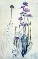 "Mackintosh Collection: Hunterian Art Gallery, U. of Glasgow. Watercolor, ""Sea Pink, Holy Island"" 1901."