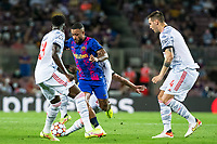 14th September 2021: Nou Camp, Barcelona, Spain: ECL Champions League football, FC Barcelona versus Bayern Munich: 9 Memphis Depay FCBarcelona player takes on Sule and Muller of Bayern