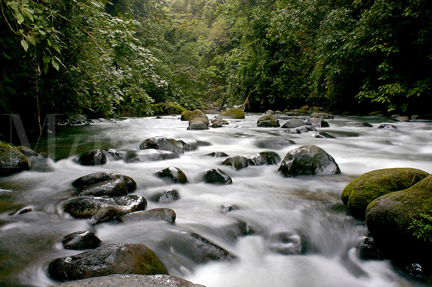 Rapids on a river at the Arenal Volcano, Costa Rica.
