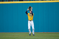 UNCG Spartans right fielder Pres Cavenaugh (29) catches a fly ball during the game against the San Diego State Aztecs at Springs Brooks Stadium on February 16, 2020 in Conway, South Carolina. The Spartans defeated the Aztecs 11-4.  (Brian Westerholt/Four Seam Images)