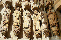Gothic statues  decapitated martyrs Victoricus and Gentian, at the western entrance. Gothic Cathedral of Notre-Dame, Amiens, France