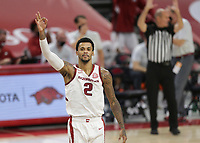 Arkansas forward Vance Jackson Jr. (2) reacts after scoring a three, Saturday, January 9, 2021 during the second half of a basketball game at Bud Walton Arena in Fayetteville. Check out nwaonline.com/210110Daily/ for today's photo gallery. <br /> (NWA Democrat-Gazette/Charlie Kaijo)