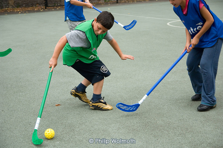 Hockey session at Amberley Estate, North Paddington, run by the Westminster Sports Unit.