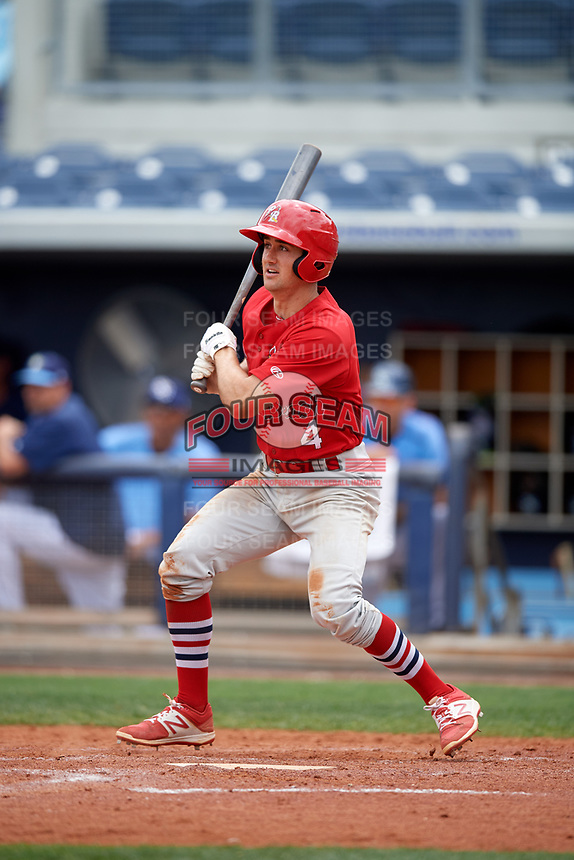 Palm Beach Cardinals third baseman Danny Diekroeger (4) follows through on a swing during a game against the Charlotte Stone Crabs on April 12, 2017 at Charlotte Sports Park in Port Charlotte, Florida.  Palm Beach defeated Charlotte 8-7 in ten innings.  (Mike Janes/Four Seam Images)
