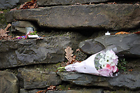 Pictured: Flowers and tributes left at the entrance to the property in Llangammarch Wells, Powys, Wales, UK. Tuesday 31 October 2017<br />