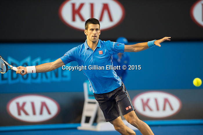 Novak Djokovic (SRB) wins the men's final against Andy Murray (GBR) 7-6, 6-7, 6-3, 6-0 at the Australian Open  being played at Melbourne Park in Melbourne, Australia on January 30, 2015
