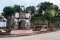 Porta de Santiago, Gate of A Famosa Portuguese Fort, 16th. Century, Melaka, Malaysia.