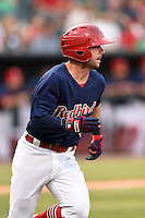 Memphis Redbirds second baseman Greg Garcia (5) during a game against the Oklahoma City RedHawks on May 23, 2014 at AutoZone Park in Memphis, Tennessee.  Oklahoma City defeated Memphis 12-10.  (Mike Janes/Four Seam Images)
