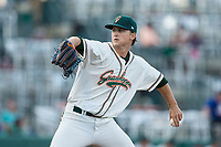 Greensboro Grasshoppers starting pitcher Braxton Garrett (28) in action against the Delmarva Shorebirds at First National Bank Field on May 20, 2017 in Greensboro, North Carolina.  The Grasshoppers defeated the Shorebirds 7-2.  (Brian Westerholt/Four Seam Images)