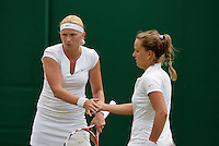 England, London, June 30, 2015, Tennis, Wimbledon, Womans dubbles: Michaëlla Krajicek (NED) (l) and her partner Barbora Strycova (CZE)<br /> Photo: Tennisimages/Henk Koster