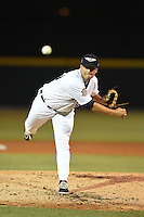Lakeland Flying Tigers pitcher Julio Felix (29) delivers a pitch during a game against the Palm Beach Cardinals on April 13, 2015 at Joker Marchant Stadium in Lakeland, Florida.  Palm Beach defeated Lakeland 4-0.  (Mike Janes/Four Seam Images)