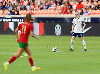 HOUSTON, TX - JUNE 10: Becky Sauerbrunn #4 of the United States looks to pass the ball during a game between Portugal and USWNT at BBVA Stadium on June 10, 2021 in Houston, Texas.