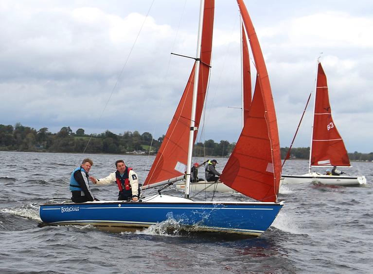 Part of the Squibs' attraction is that they're not afraid to move away from standard white hulls, and LDYC Honorary Sailing Secretary Fergal Keating's Bodacious (crewed by David Maher) has had a particularly attractive paint job.
