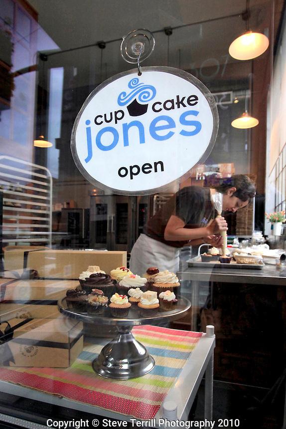 Looking through window at Cupcake Jones in The Pearl in Portland, Oregon