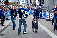Filippo Gana (ITA/Ineos Grenadiers) succesfully defends his TT title<br /> <br /> Men Elite Individual Time Trial <br /> from Knokke-Heist to Bruges (43.3 km)<br /> <br /> UCI Road World Championships - Flanders Belgium 2021<br /> <br /> ©kramon