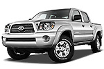 Low aggressive front three quarter view of a 2011 Toyota Tacoma PreRunner Off Road Double Cab.