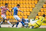 St Johnstone v Hamilton Accies...12.09.15  SPFL McDiarmid Park, Perth<br /> Michael McGovern saves from Graham Cummins<br /> Picture by Graeme Hart.<br /> Copyright Perthshire Picture Agency<br /> Tel: 01738 623350  Mobile: 07990 594431