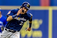 25 March 2019: Milwaukee Brewers outfielder Christian Yelich hustles on the bassepath in the first inning of an exhibition game against the Toronto Blue Jays at Olympic Stadium in Montreal, Quebec, Canada. The Brewers defeated the Blue Jays 10-5 in the first of two MLB pre-season games in the former home of the Montreal Expos. Mandatory Credit: Ed Wolfstein Photo *** RAW (NEF) Image File Available ***