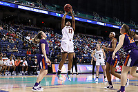 GREENSBORO, NC - MARCH 6: Taylor Soule #13 of Boston College shoots the ball during a game between Clemson and Boston College at Greensboro Coliseum on March 6, 2020 in Greensboro, North Carolina.