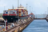 Panama Canal, Panama.  Container Ship Passing through Gatun Lock, Heading toward Lake Gatun.