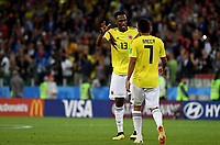 MOSCU - RUSIA, 03-07-2018: Carlos BACCA y Yerry MINA jugadores de Colombia lucen decepcionados después del partido de octavos de final entre Colombia y Inglaterra por la Copa Mundial de la FIFA Rusia 2018 jugado en el estadio del Spartak en Moscú, Rusia. / Carlos BACCAand Yerry MINA players of Colombia look disappointed after the match between Colombia and England of the round of 16 for the FIFA World Cup Russia 2018 played at Spartak stadium in Moscow, Russia. Photo: VizzorImage / Julian Medina / Cont