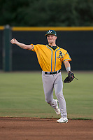 AZL Athletics second baseman Nick Ward (4) makes a throw to first base during an Arizona League game against the AZL Giants Black at the San Francisco Giants Training Complex on June 19, 2018 in Scottsdale, Arizona. AZL Athletics defeated AZL Giants Black 8-3. (Zachary Lucy/Four Seam Images)