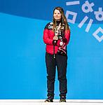 Brittany Hudak, PyeongChang 2018 - Para Nordic Skiing // Ski paranordique.<br /> Brittany Hudak recieves the bronze medal in the women's biathlon 12.5km standing // Brittany Hudak reçoit la médaille de bronze en biathlon debout de 12,5 km féminin. 16/03/2018.